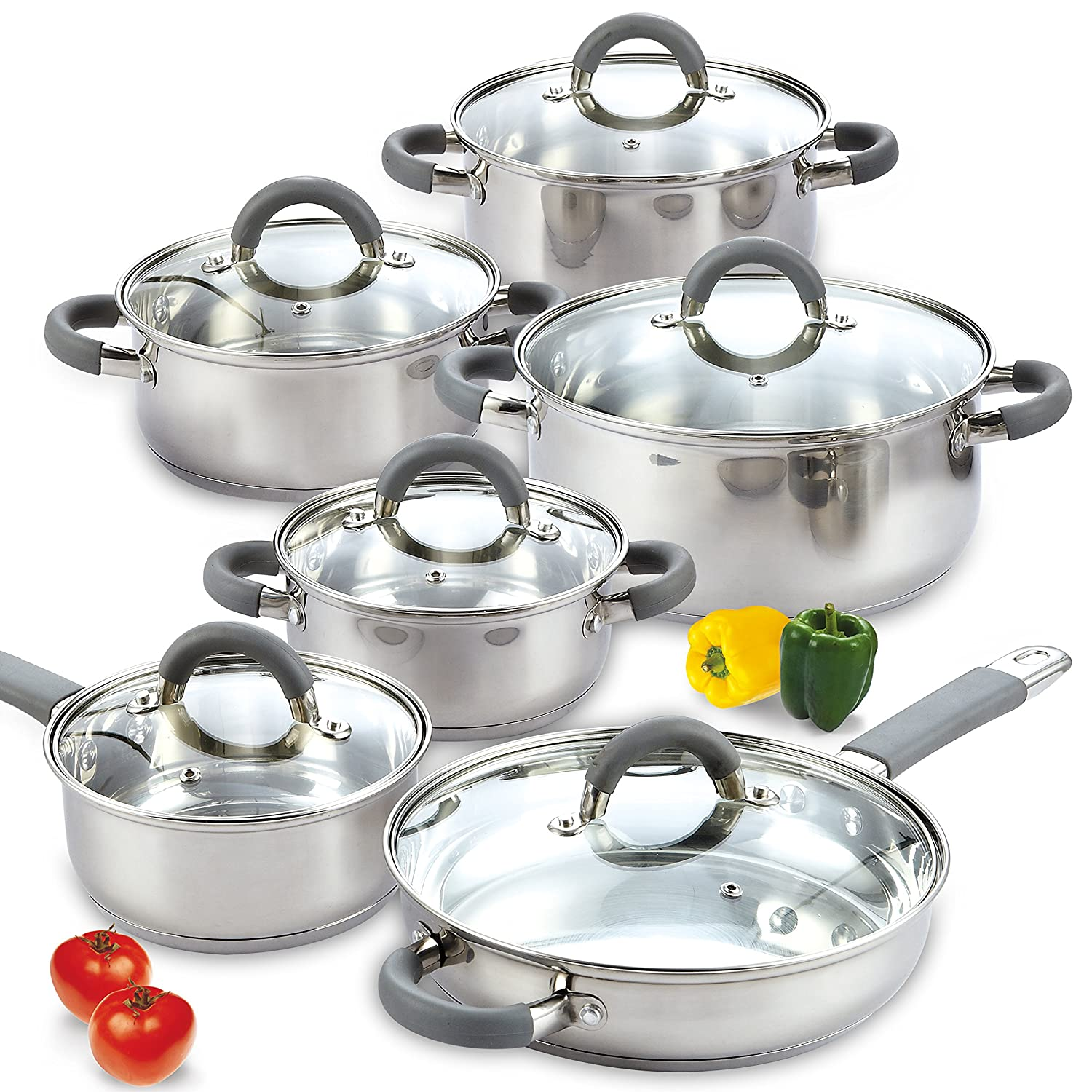 Amazon Com Cook N Home 02410 Stainless Steel 12 Piece Cookware Set