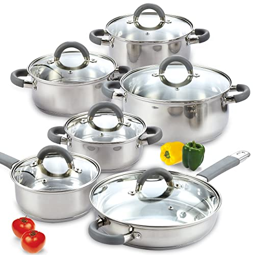 Cook N Home 02410 12-częściowy zestaw naczyń kuchennych ze stali nierdzewnej srebrny