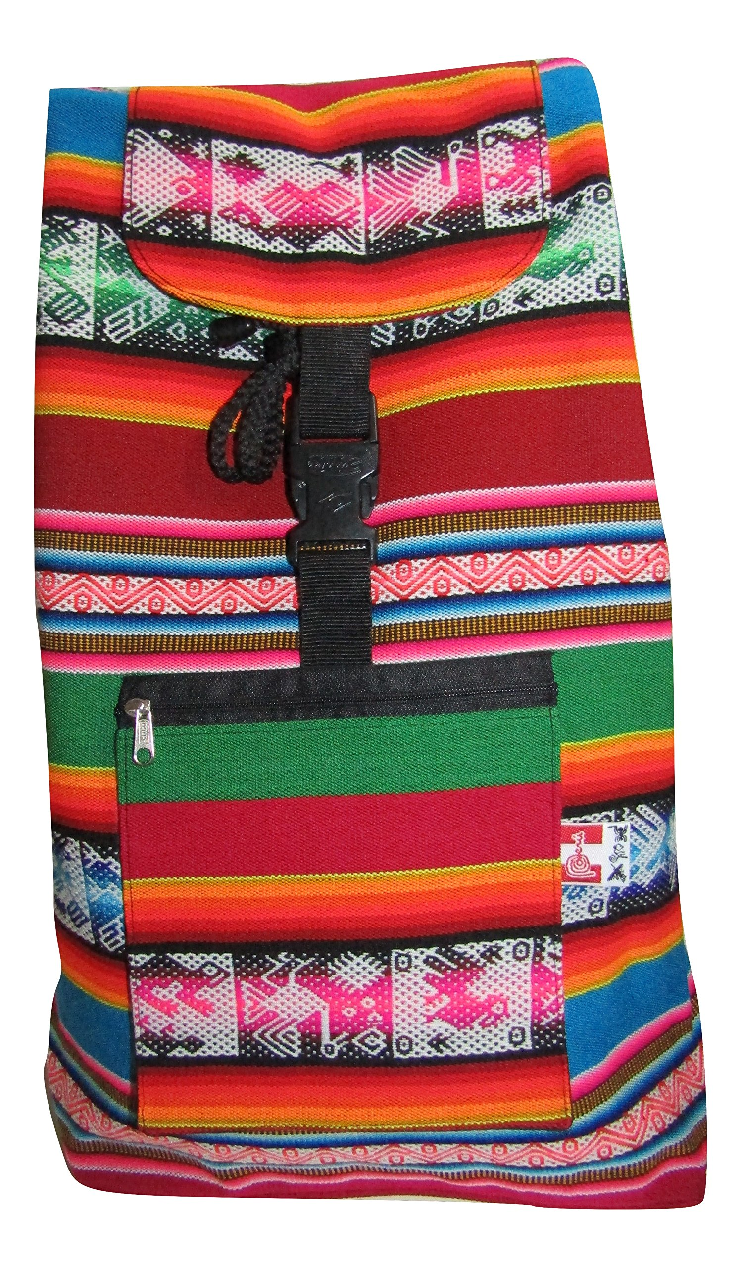 Peru Outdoor Picnic Colorful Wool Backpack Bag (Light Blue/Red)