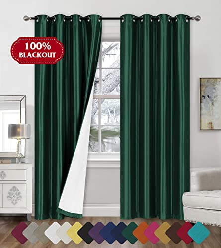 Faux Silk Blackout Curtains – 2-Panel Sets of 54×84 Room Darkening Black Out Curtains for Bedroom – Durable Thermal Insulated, Sun and Sound Blocking Dark Window Curtain – FS3, 84 , Hunter Green