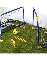 8f7ec1c9b CostMad 2 x Football Soccer Goals Posts with Nets Pegs Ball & Pump Kids  Childrens Junior