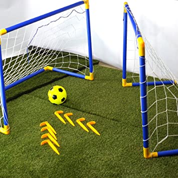 4c6a497ab CostMad 2 x Football Soccer Goals Posts with Nets Pegs Ball & Pump Kids  Childrens Junior