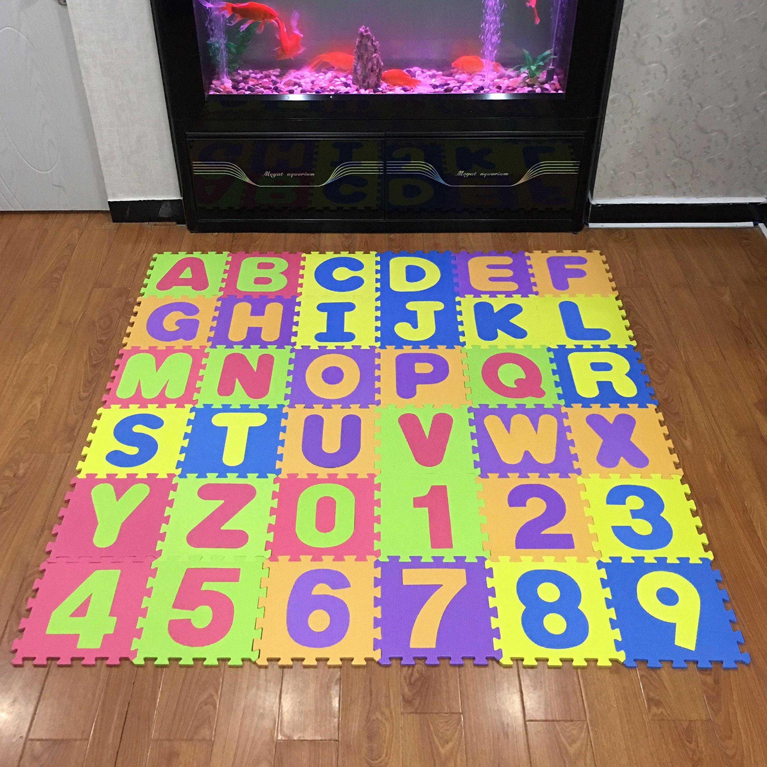 Puzzle Play Mat,Foam Floor Play Mat,Foam Interlocking Tiles,Alphabet & Number Foam Puzzle Mat,NON-TOXIC EVA 36 Piece Multi-Color Children Play & Exercise Mat (Large) (Large) by Chuanyue (Image #2)