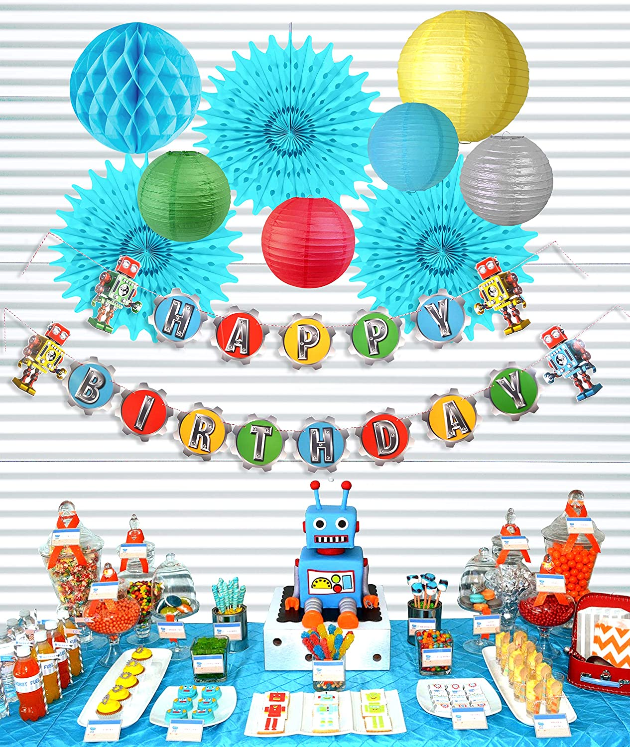 Kit Paper Jazz Retro Robot Theme Birthday Party Decoration Hanging Happy Birthday Banner Paper Lanterns//Fans for Baby Shower Party