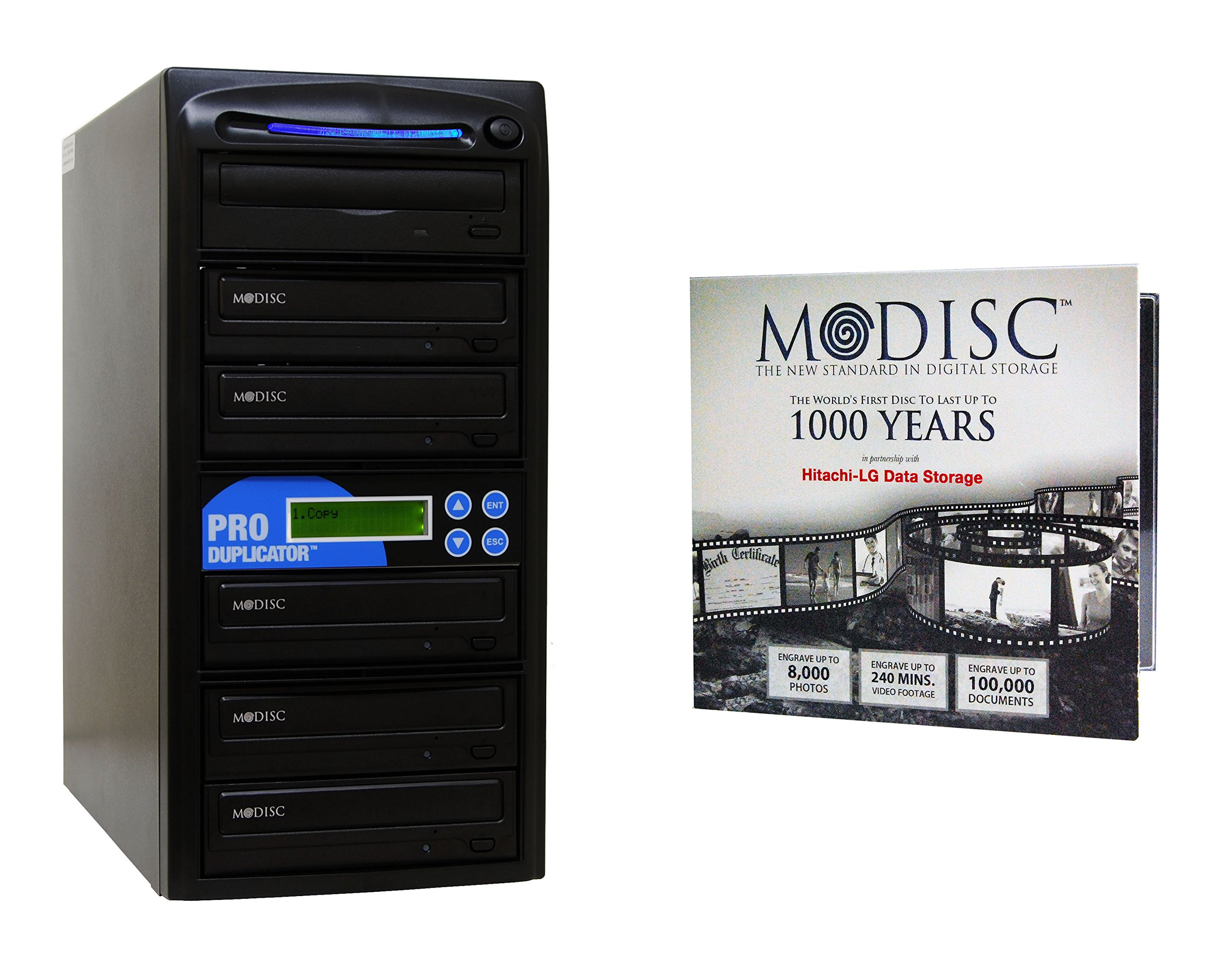Produplicator 1 to 5 M-Disc Support CD DVD Duplicator Bundle with 1 Pack M-DISC DVD and Nero Burning Software (Up to 24X DVD Burn Speed, Standalone Duplication Tower)