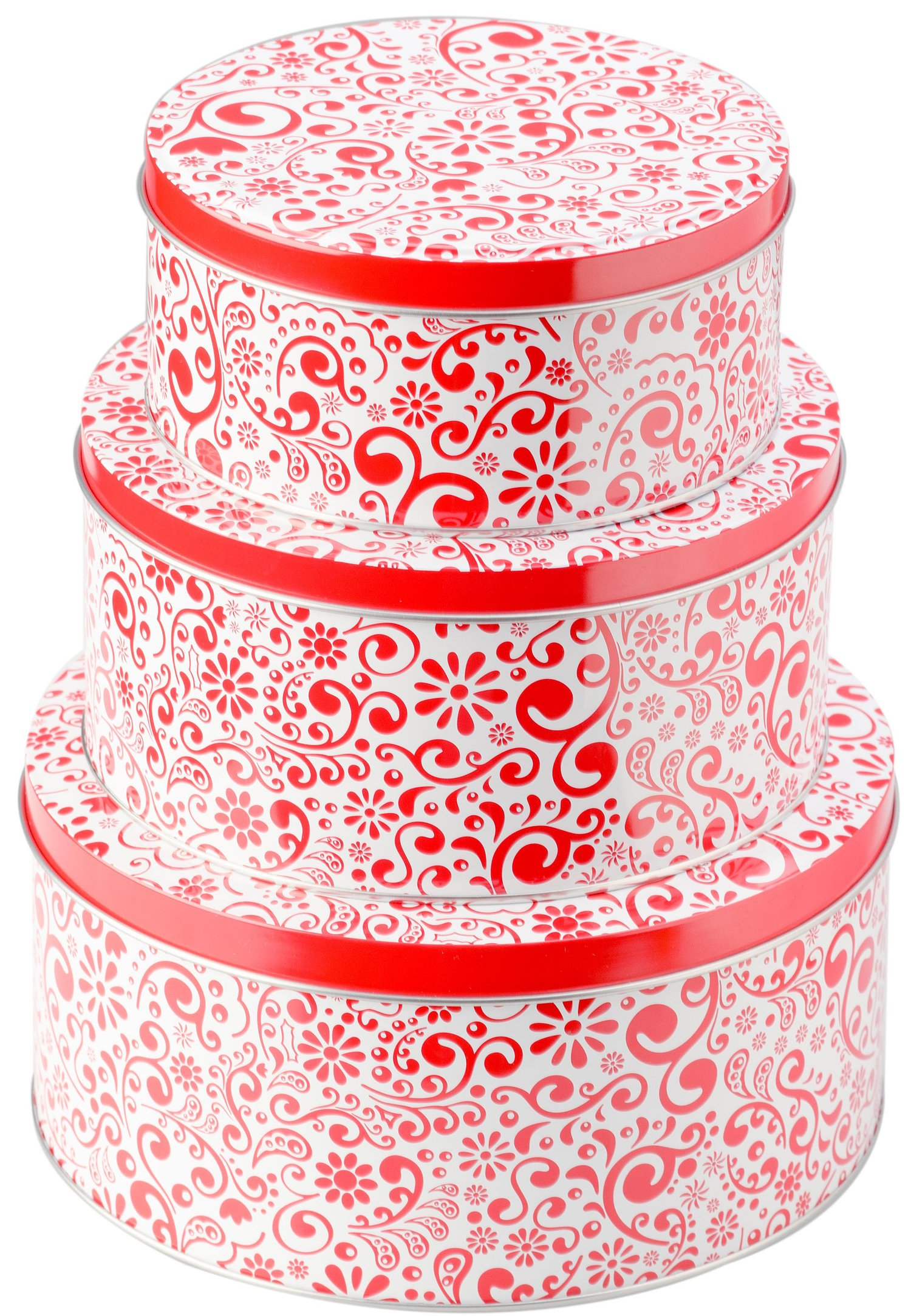 StarPack Premium Christmas Cookie Tins Set of 3 - Decorative Cookie Gift Tins, Extra Thick Steel - Large, Medium and Small, Bonus 101 Cooking Tips