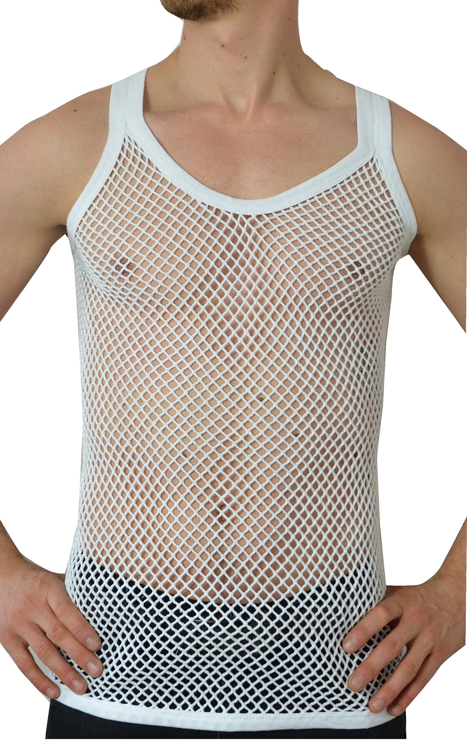 Mens 100/% Cotton Sleeveless Fish Net String Mesh Fitted Vest Casual Sports Summer Gym Training Tank Top T Shirt