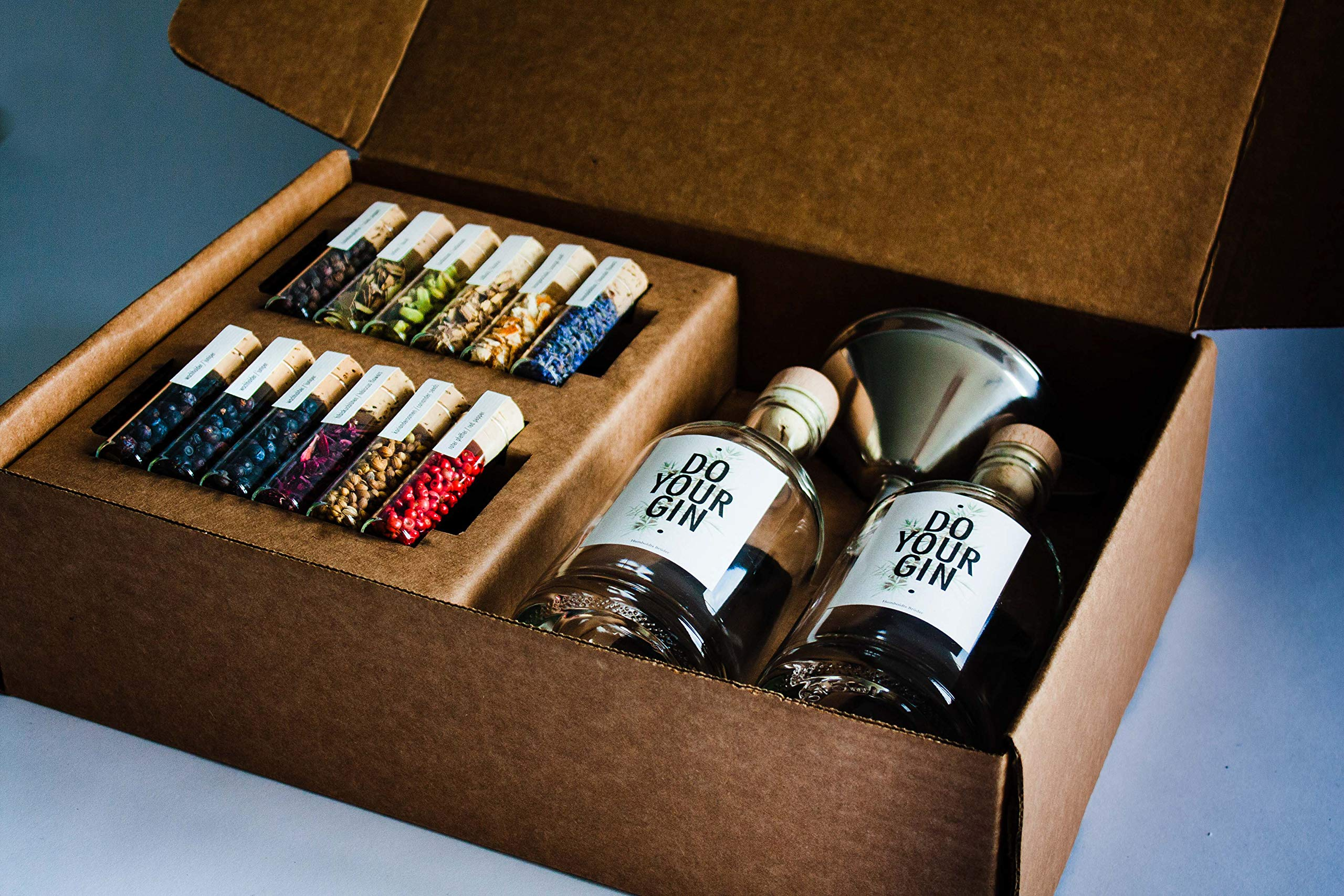 DO YOUR GIN Gin Making Kit - Homemade, Infusion, No-Distilling Recipe with Vodka and 10 Botanicals - Experiment and Create Your Own with Spices in 12 Glass Tubes - Best DIY Gift Kits for Men and Women
