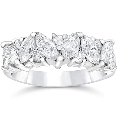 Amazoncom 1 12ct Fancy Marquise Diamond Wedding Ring Womens