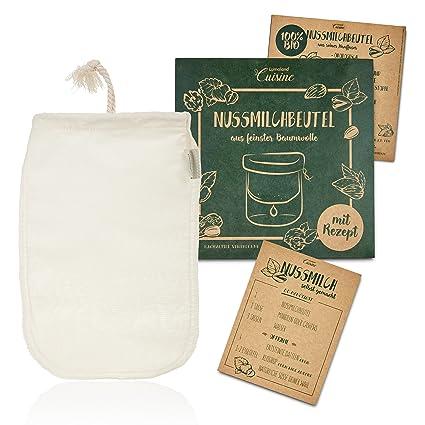 Lumaland Cuisine bolsa filtro leche vegetal.Tejido natural. Incluye recetas. Envase sostenible 100% BIO orgánico.Algodón