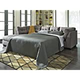 Maier Contemporary Charcoal Color Fabric Full Sectional Sofa Sleeper