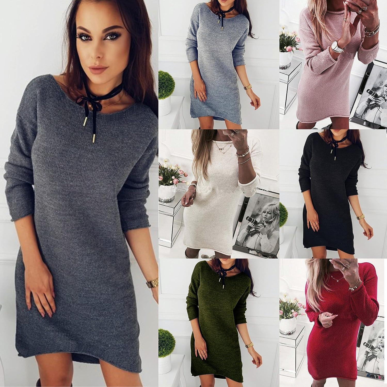 Minetom Automne Hiver Mode Femme Solide Col Rond Pull Long Shirt D/écontract/é Chemises /À Manches Longues L/âche Blouse Pullover Mini Robe