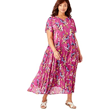 4d4f26f5b4b Woman Within Women s Plus Size Petite Crinkle Dress - Bright Berry Free  Floral