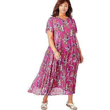Amazon.com: Woman Within Women\'s Plus Size Petite Crinkle Dress ...