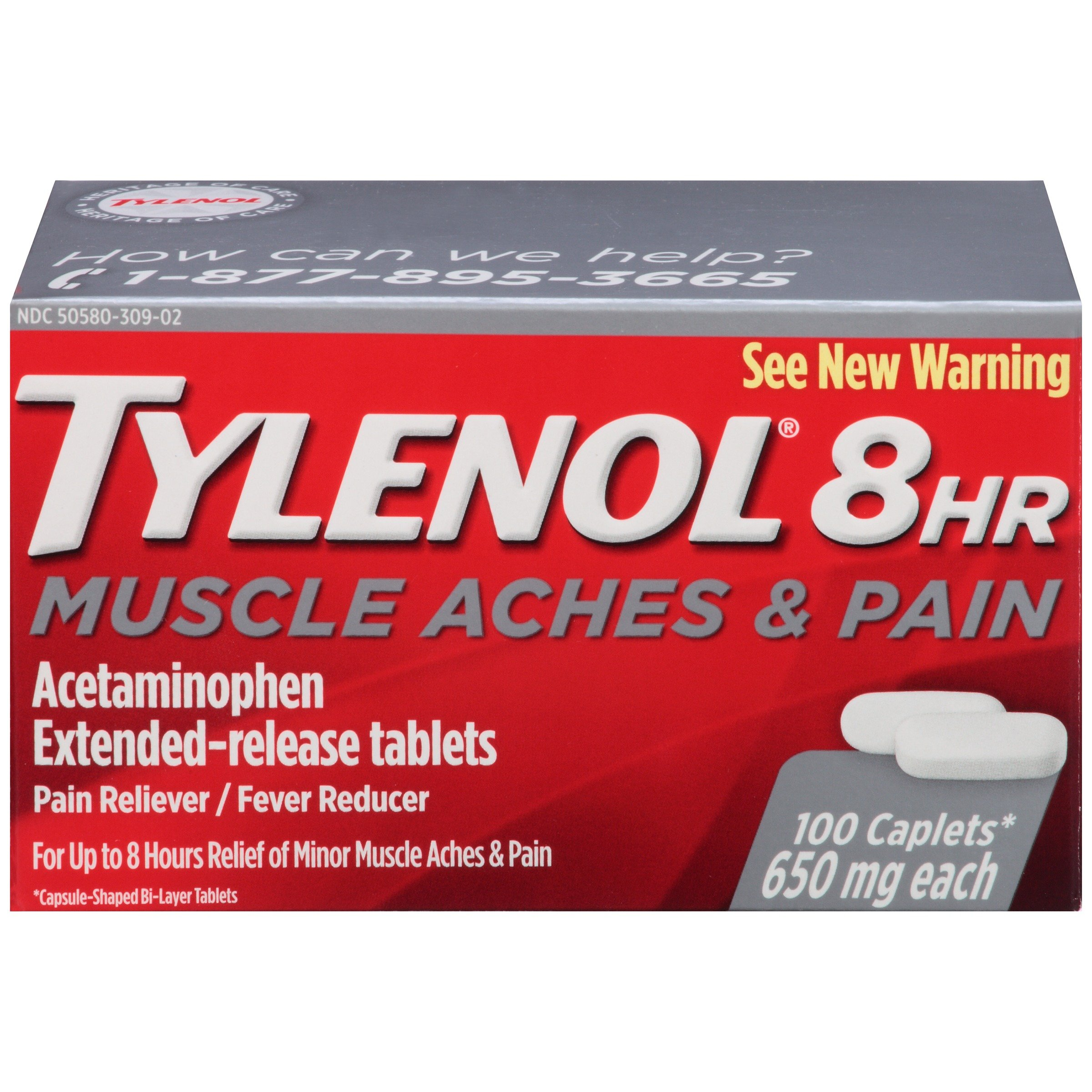Tylenol 8 HR Muscle Aches & Pain, Pain Relief from Aches and Pain, 650 mg, 100 ct. by Tylenol