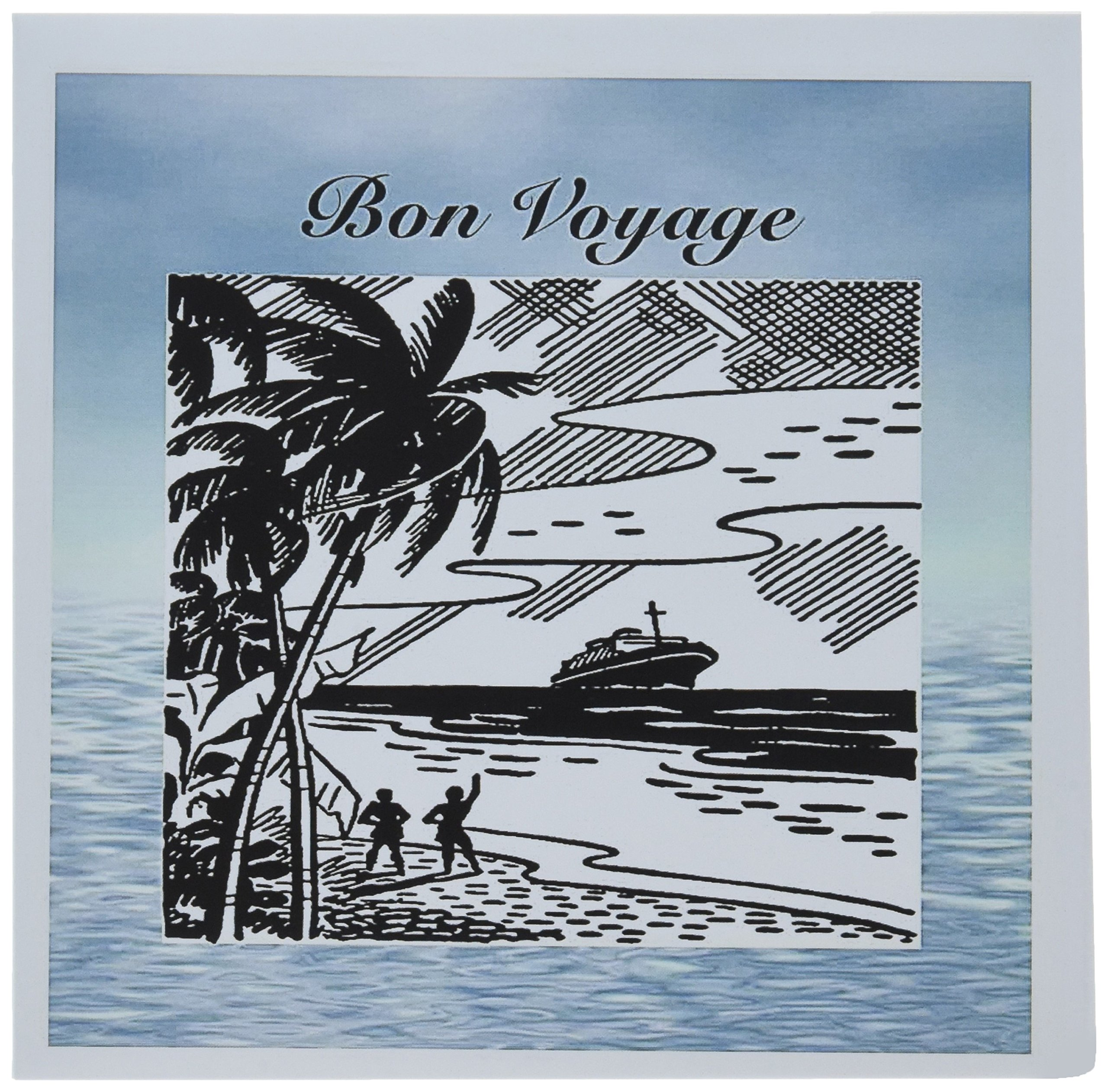 3dRose Print of Retro Bon Voyage on Water Background - Greeting Cards, 6 x 6'', Set of 6 (gc_212884_1)