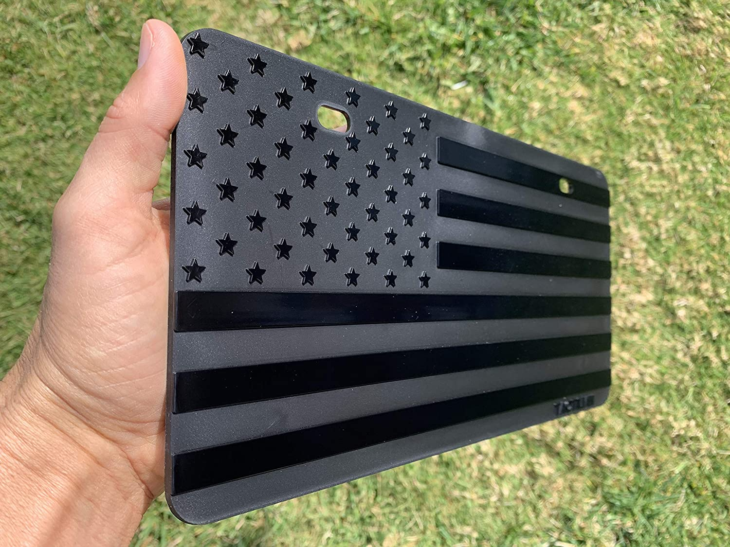 Truck or SUV Tactilian Embossed American Flag License Plate 3D Stars and Stripes 1//8 Thick Plastic for Car