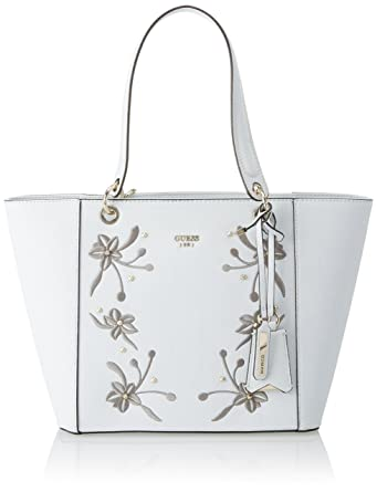 d3045537e4c6bc Amazon.com: GUESS Kamryn Embroidered Tote, ice: Clothing