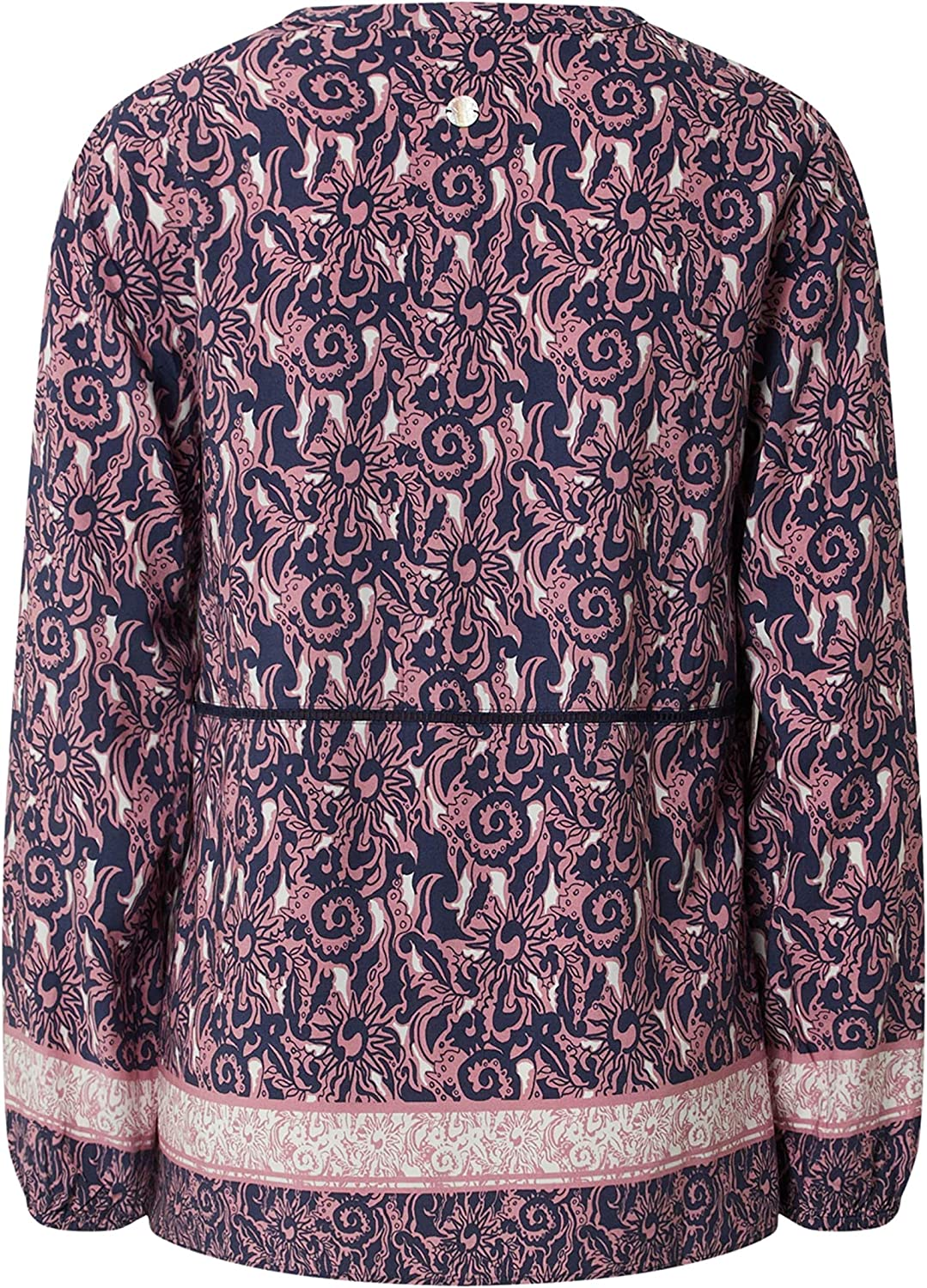 Favourite Long Sleeve Blouse JEMMAL Round Neck All-Over Print Pattern Pink Pink