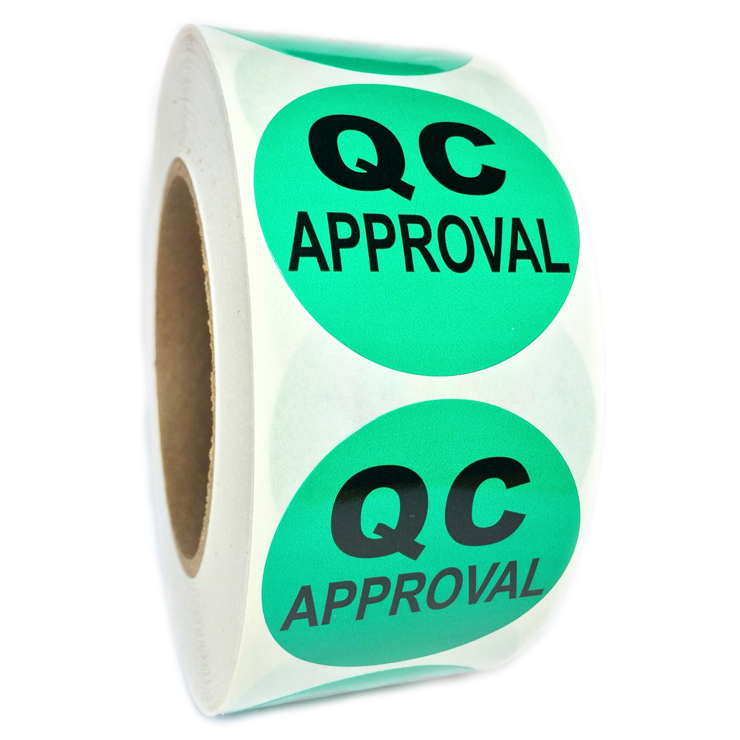 Green ''QC Approval'' Labels - 2'' diameter - 1000 ct Roll