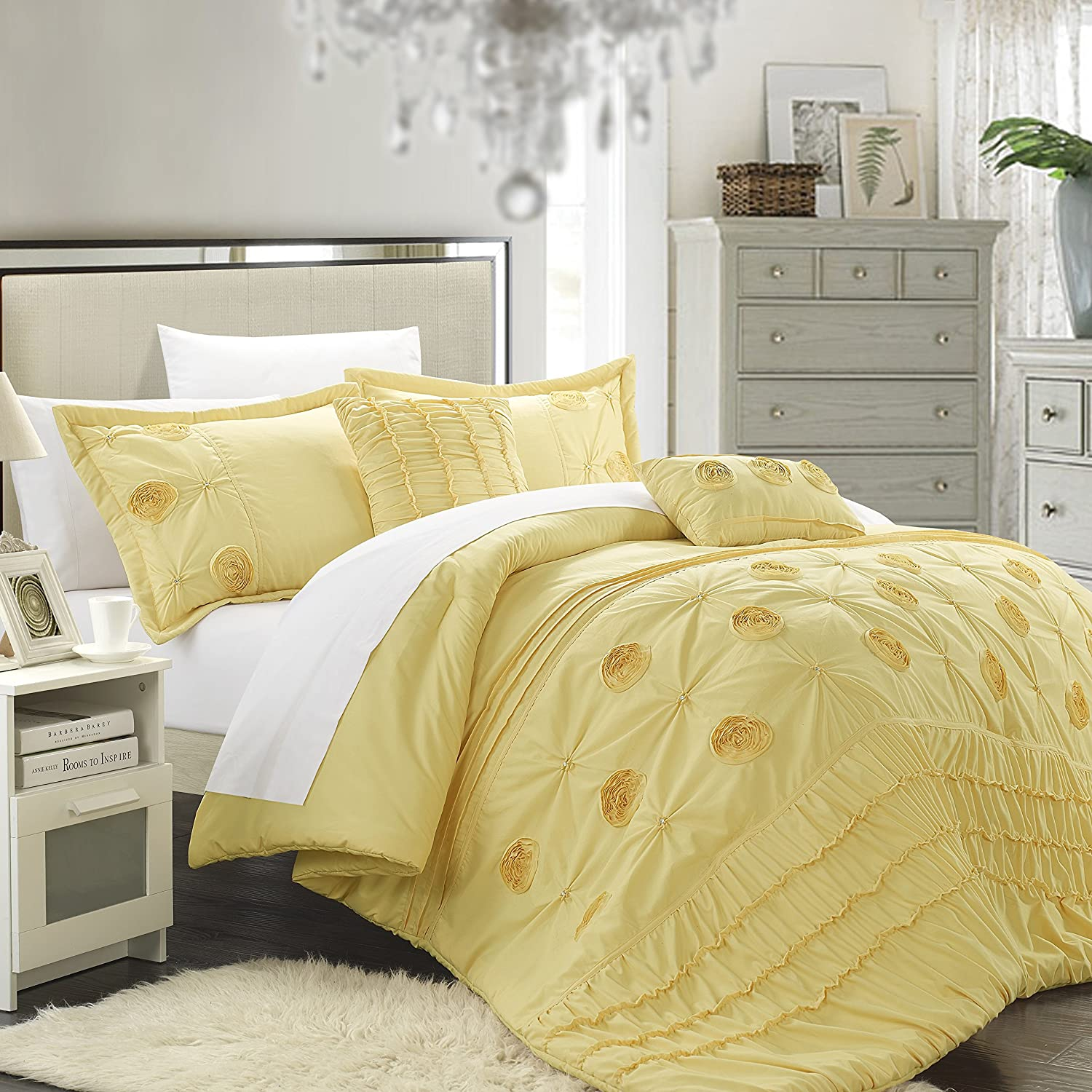 5-Piece Florentina Floral Pleated Comforter Set, Yellow, Queen