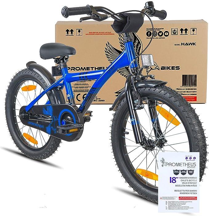 Prometheus Bicicleta Infantil niño y niña   18 Pulgadas   Azul Negro   A Partir de 6 años   V-Brake y Freno de contrapedal   18