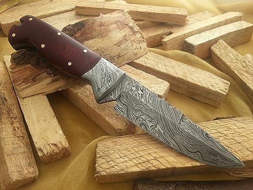 Knife King Snowdown Hunter Custom Damascus Handmade Hunting Knife