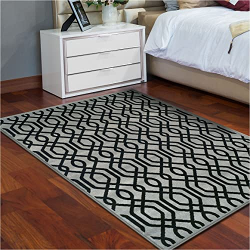 Superior Gryffon Collection Area Rug, 8mm Pile Height with Jute Backing, Chic Geometric Trellis Pattern, Fashionable and Affordable Woven Rugs – 5 x 8 Rug