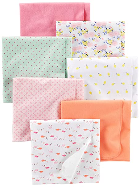 e66ae6128 Simple Joys by Carter's Baby Girls' 7-Pack Flannel Receiving Blankets,  Floral/