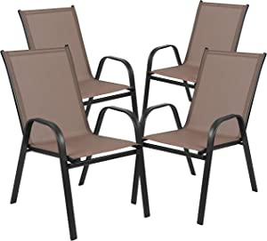 Flash Furniture 4 Pack Brazos Series Brown Outdoor Stack Chair with Flex Comfort Material and Metal Frame