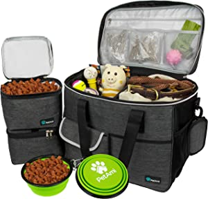 PetAmi Dog Travel Bag | Airline Approved Tote Organizer with Multi-Function Pockets, Food Container Bag and Collapsible Bowl | Perfect Weekend Pet Travel Set for Dog, Cat (Charcoal, Large)