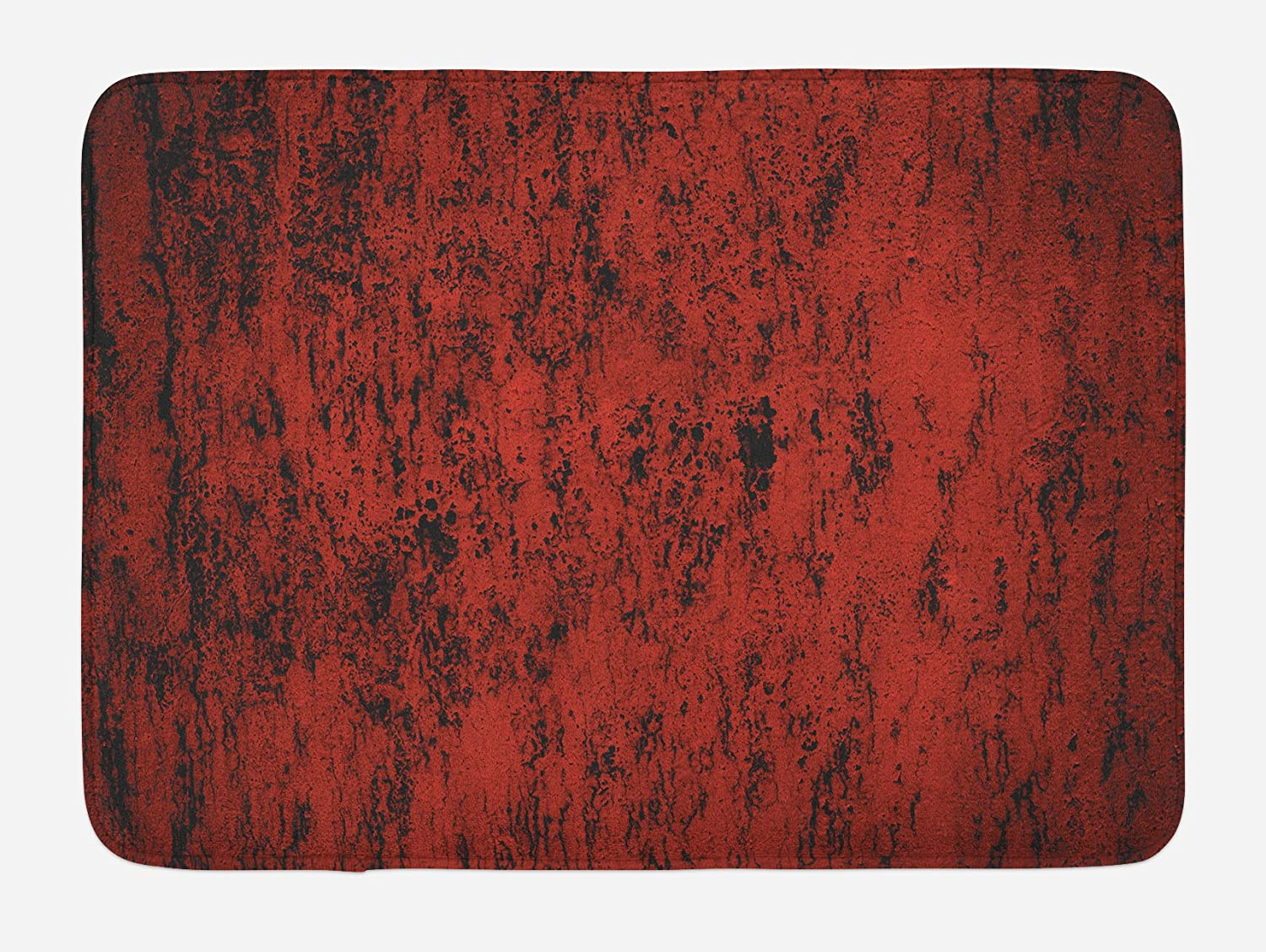 Ambesonne Red and Black Bath Mat, Abstract Pattern with Grungy Distressed Look and in Vintage Style, Plush Bathroom Decor Mat with Non Slip Backing, 29.5