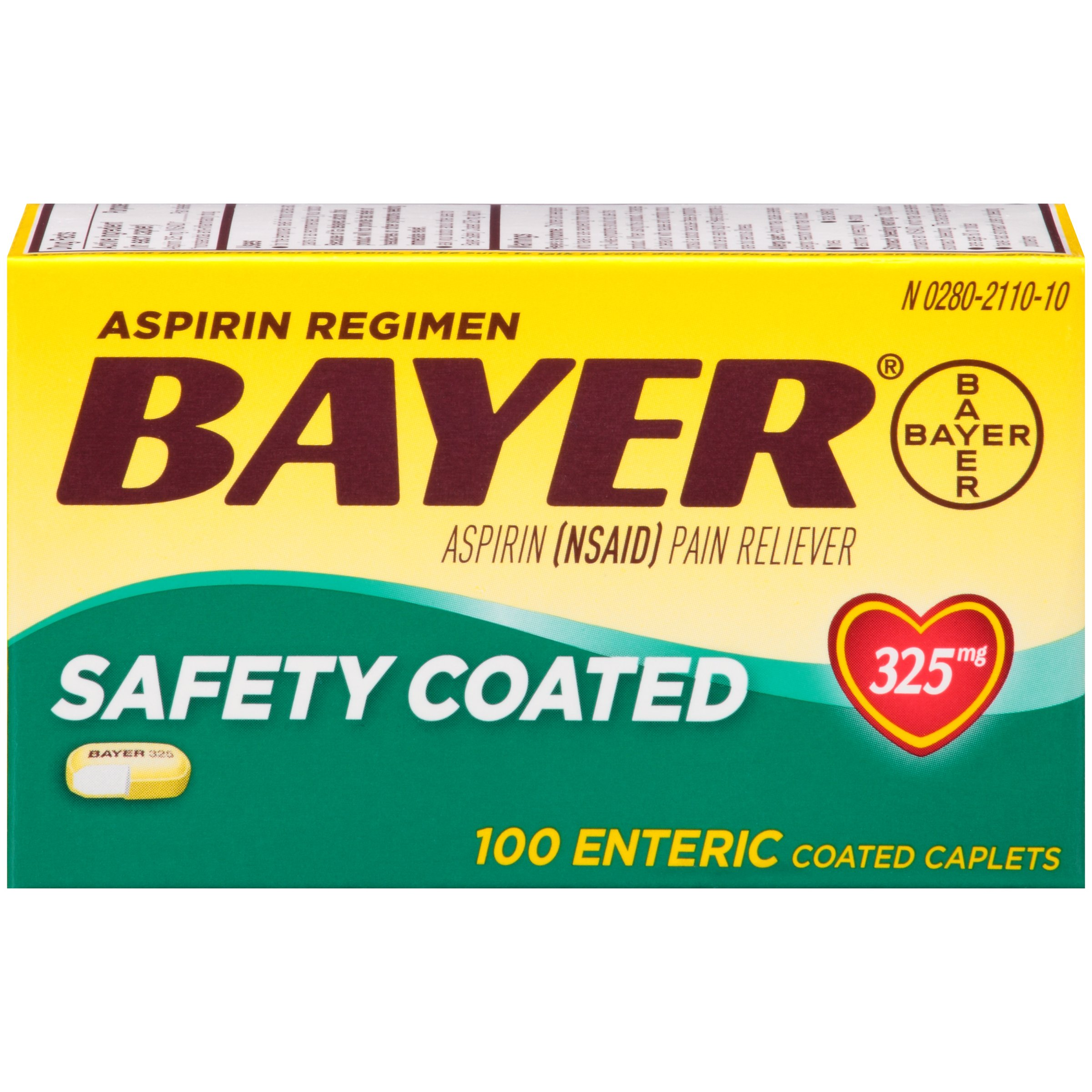 Bayer Safety Coated Aspirin 325 mg -100 Caplets, Pack of 5 by Bayer