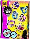 Kit de Creation de Bagues - Pink City - 6 Fils Metalliques + 15 Perles Argentees + Sac Organza + Bre