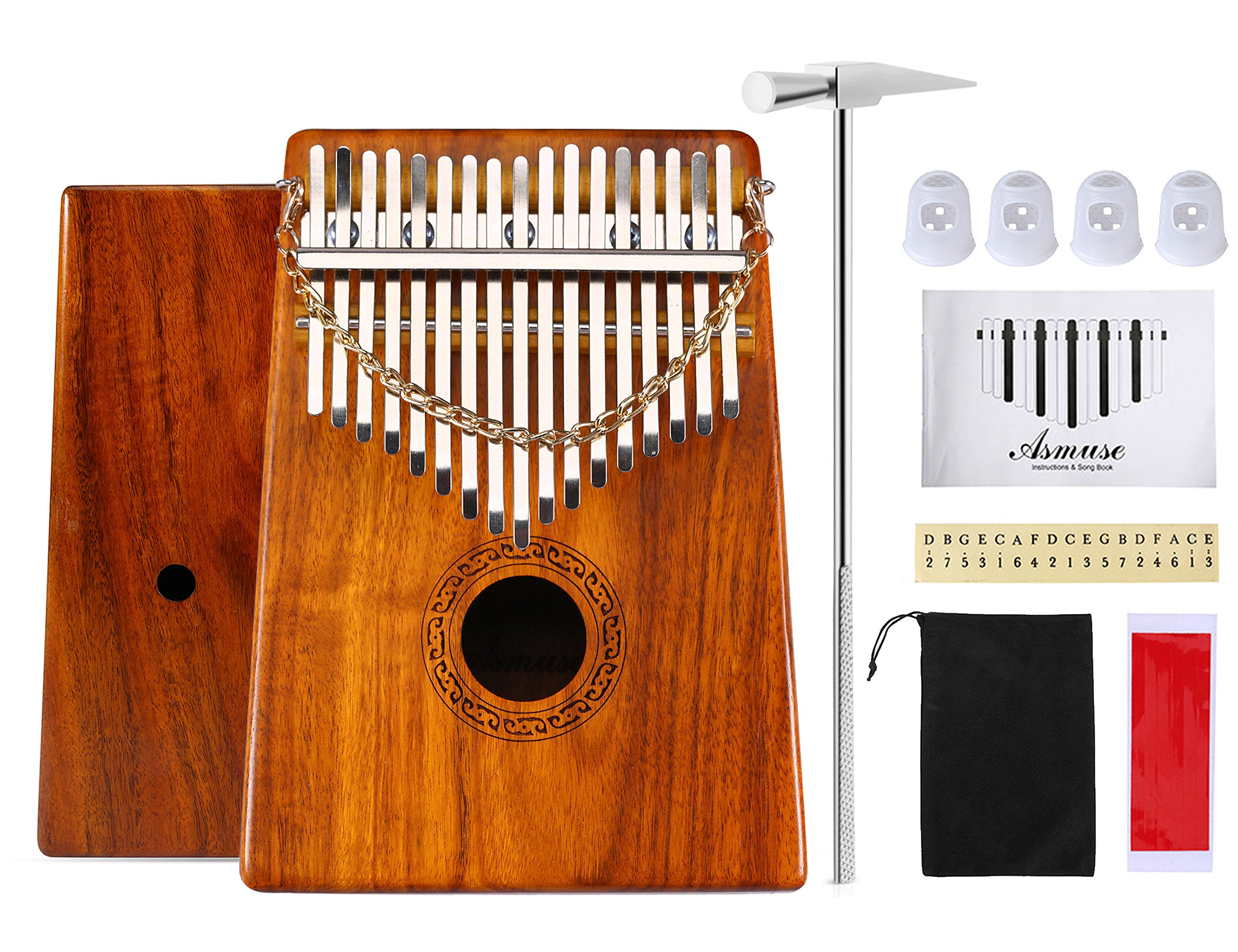 Thumb Piano 17 Keys Kalimba Acacia KOA Body Finger Piano Mbira Sanza Thumb Instrument with Kalimba Songbook 15 Songs Study Guide, Tuning Hammer and 4 Pcs Finger Thumb Picks(Solid KOA Wood)