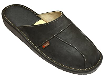 NEW MEN'S NATURAL LEATHER SLIPPERS BLACK  GREY