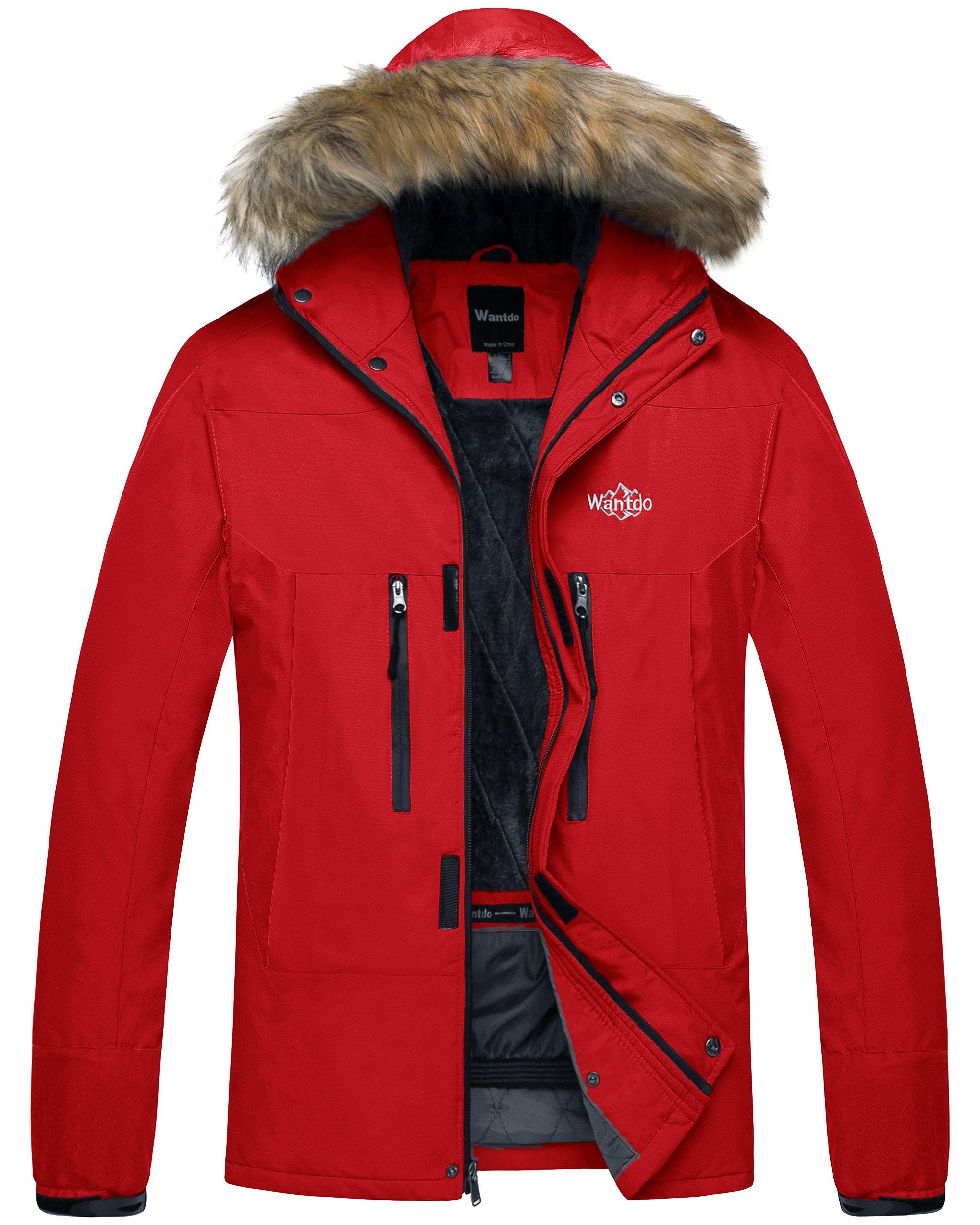 Wantdo Men's Hooded Mountain Rain Jacket Outdoor Fleece Lined Windproof Ski Jacket Red US Large