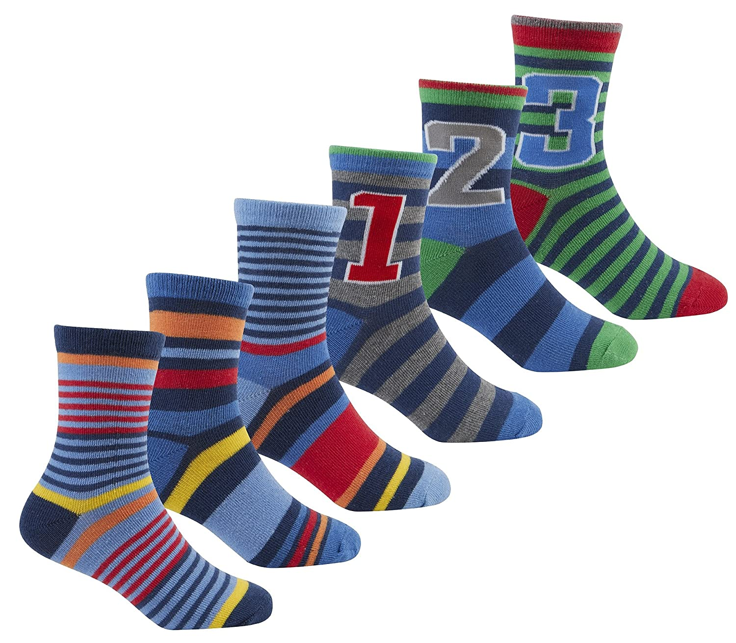 Zest Boys Cotton Rich Socks with Stripes & 1 2 3 Numbers