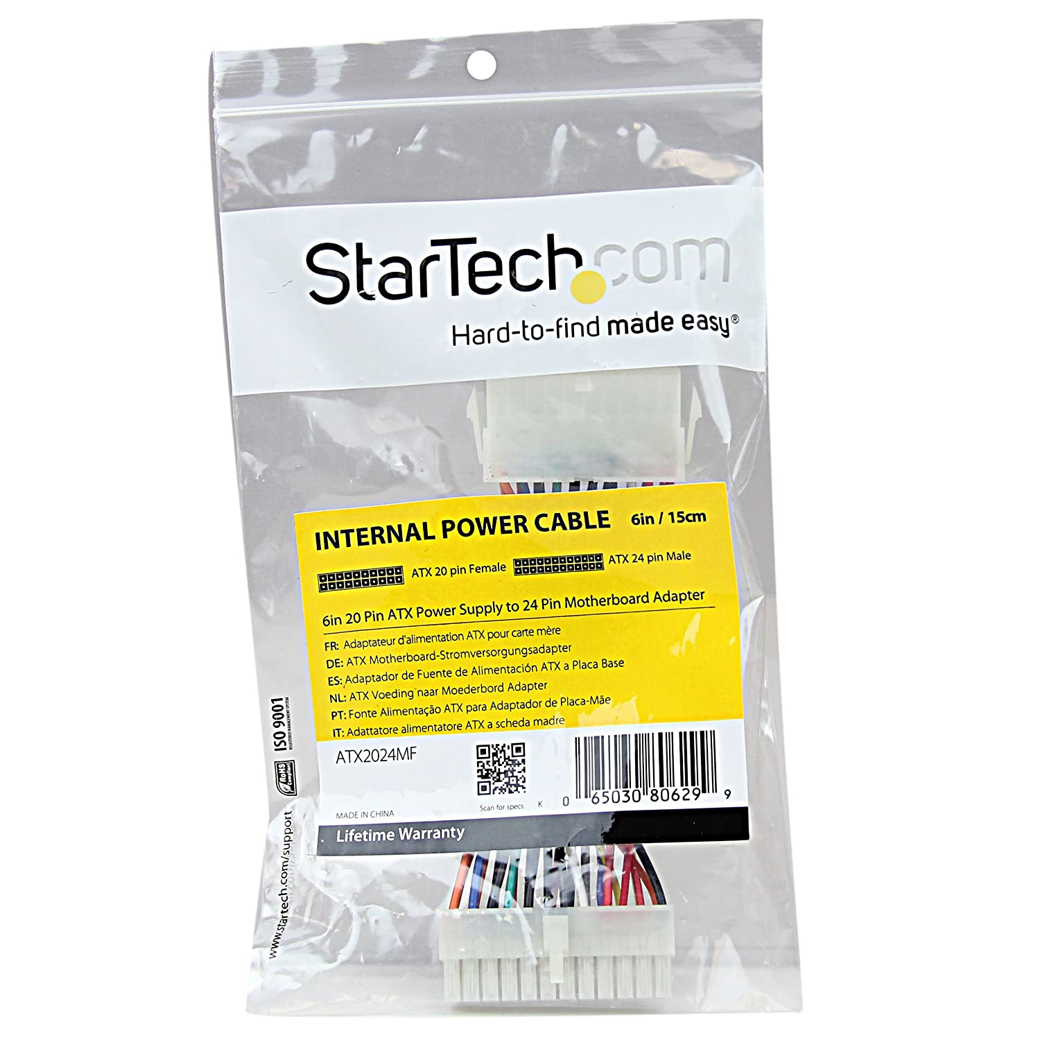 Amazon.com: StarTech.com 6-Inch 20 Pin ATX Power Supply to 24 Pin ...