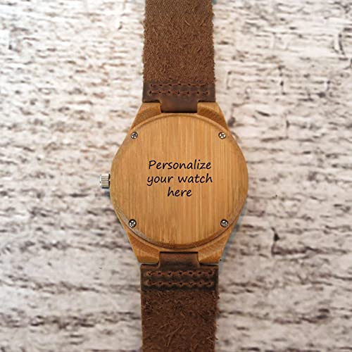 Amazon.com: Personalized Genuine Wood Watch with Leather Band (MW1): Handmade