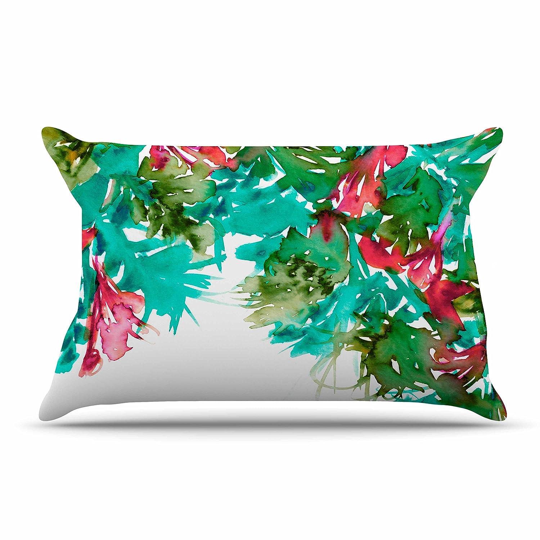 Kess InHouse EBI Emporium Floral Cascade 7 Teal Red Standard Pillow Case 30 X 20 30 by 20-Inch