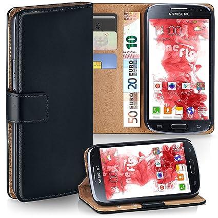 moex Samsung Galaxy S4 | Hülle Schwarz mit Karten-Fach 360° Book Klapp-Hülle Handytasche Kunst-Leder Handyhülle für Samsung G