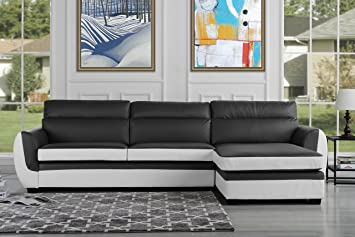 Modern Bonded Leather Sectional Sofa, Large Living Room L Shape Couch (Dark  Grey/