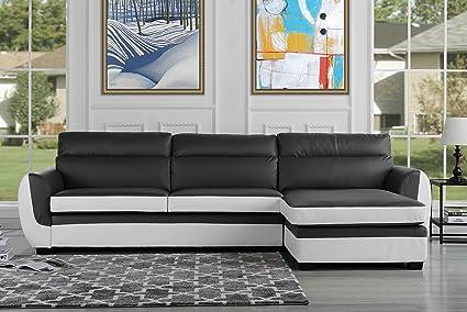 Amazoncom Modern Bonded Leather Sectional Sofa Large Living Room