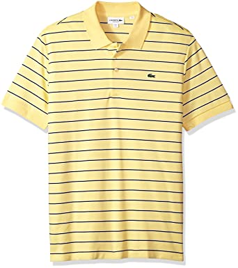 39dbd4f9 Lacoste Men's Short Sleeve Striped Pima Interlock Regular Fit Polo, DH3988,  Yellow/White/Navy Blue 4X-Large at Amazon Men's Clothing store: