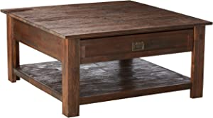 Simpli Home Monroe SOLID ACACIA WOOD 38 inch Wide Square Rustic Coffee Table in Distressed Charcoal Brown with Storage, 2 Drawers and 1 Shelf, for the Living Room, Family Room