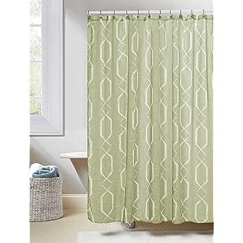 Linen Textured Sheer Fabric Shower Curtain White Geometric Design 70W X 72