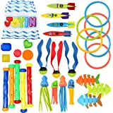 30 Pcs Diving Pool Toys Jumbo Set with Storage Bag Includes (5) Diving Sticks, (6) Diving Rings, (5) Pirate Treasures, (4) To