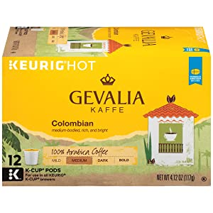 Gevalia Colombia Medium Roast Keurig K Cup Coffee Pods (72 Count, 6 Boxes of 12)
