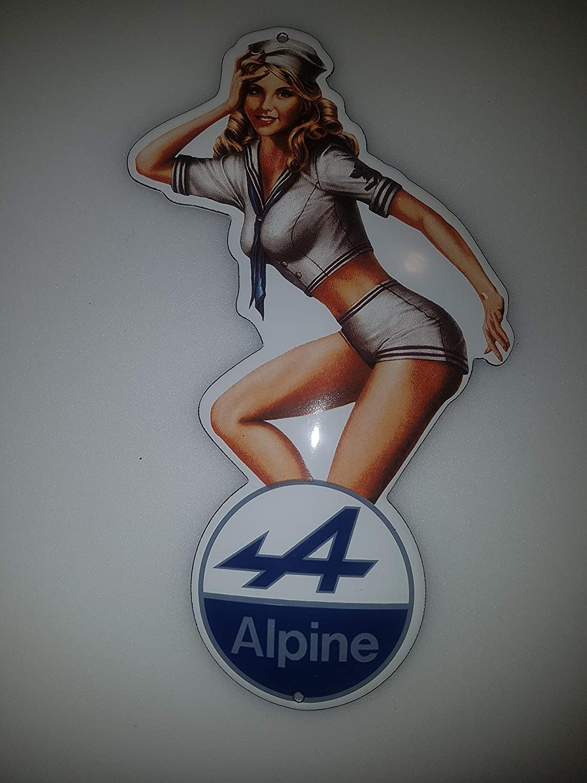 EMAILLE Plaque de signalisation Pinup Girl Renault Alpine Sign 10 x 20 cm
